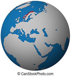 La bandera de Noruega en el mapa del globo