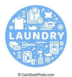 La bandera de servicio de lavandería ilustrada con iconos glifos planos. Equipos de limpieza secos, lavadoras, ropas de cuero, ropa, ropa, camisas, tabla de hierro. Círculo de plantilla de carteles de lavandería