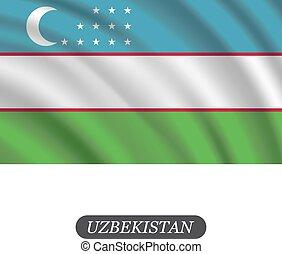 La bandera de Uzbekistán ondeando un fondo blanco. Ilustración de vectores