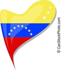 La bandera de Venezuela tiene forma cardíaca. Vector