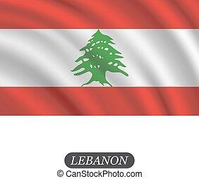 La bandera del Líbano ondeando sobre un fondo blanco. Ilustración de vectores