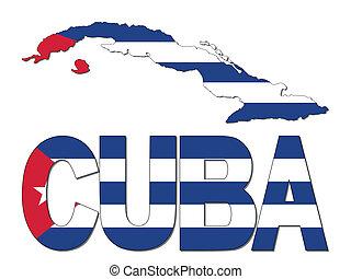 La bandera del mapa de Cuba y la ilustración de texto