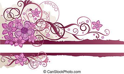 La bandera floral rosada con espacio para el texto