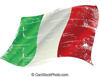 La bandera italiana grunge