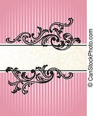 La bandera vertical romántica francesa retro en rosa