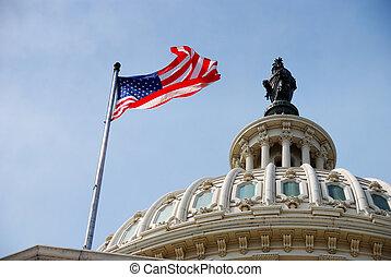 La bandera y el edificio de Capitol, Washington DC