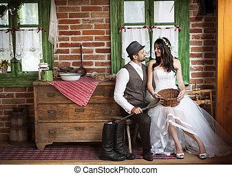 La boda de novia y novio al estilo country