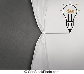 La bombilla de lápiz abre la cuerda de papel arrugado muestra pizarra en blanco como concepto
