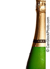 La botella de champán se cierra aislada en blanco