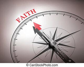 La brújula abstracta con aguja señalando la palabra fe