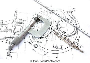 La brújula de micrometro y la regla de los planos.