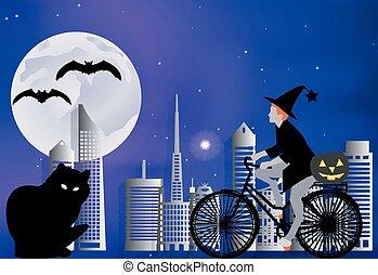 La bruja en bicicleta lleva una calabaza para un gran gato negro en una noche de luna en Halloween