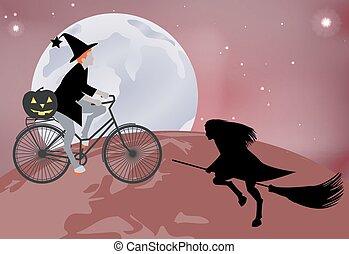 La bruja va por el mundo en bicicleta, y una bruja volando sobre el globo en una escoba en celebración de Halloween