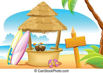 La cabaña de paja y la tabla de surf en la playa