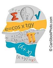 La cabeza de estudiante de matemáticas