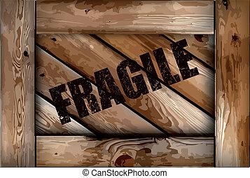 La caja de madera es frágil. Vector