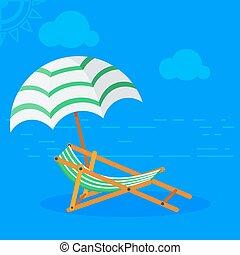 La cama solar en la playa