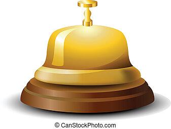 La campana de la recepción dorada