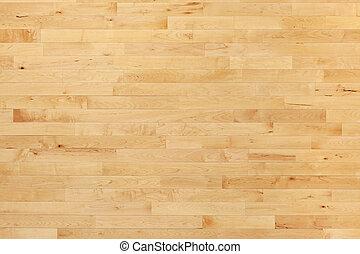 La cancha de baloncesto de Hardwood vista desde arriba