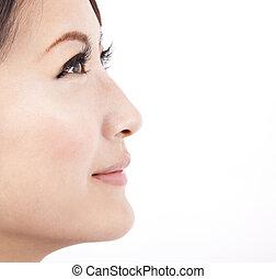 La cara de una bella asiática, aislada de fondo blanco