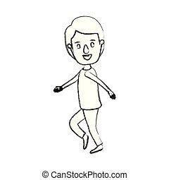 La caricatura de la silueta azulada, el tipo del cuerpo con peinados bailando