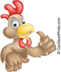 La caricatura levanta el pollo