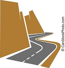 La carretera de la montaña o la carretera