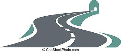 La carretera de montaña lleva a un túnel de carretera