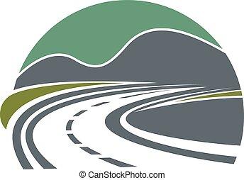 La carretera o la carretera desaparecen cerca de las montañas