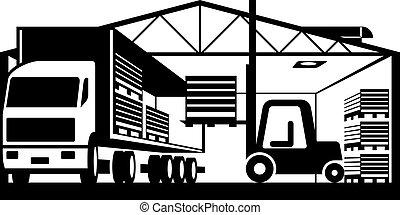 La carretilla elevadora carga camiones con palés