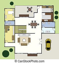 La casa de los planos de la arquitectura Floorplan