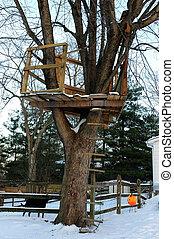 La casa del árbol en invierno