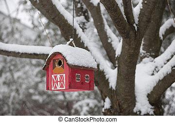 La casa del pájaro en el árbol en invierno