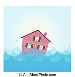 La casa se inunda bajo el agua