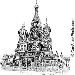 La catedral de Saint-Basil, en Moscú, Rusia, grabado añejo