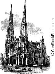 La catedral de Saint Patrick en armagh, Irlanda, ilustración grabada