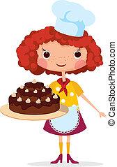 La chica cocina con torta
