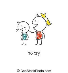 La chica consoló al niño llorando