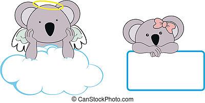 La chica de Koala, ángel, copia el coágulo espacial