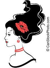 La chica de la bella cara silueta con amapola roja al estilo del pelo