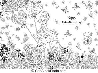 La chica de la moda va en bicicleta para tu libro de colorear. Happ