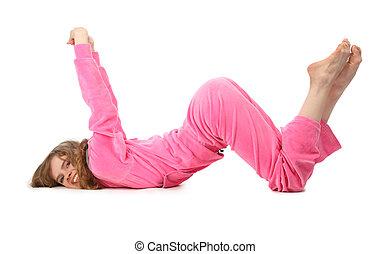 La chica de ropa rosa representa la letra w
