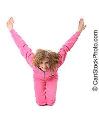 La chica de ropa rosa representa la letra y