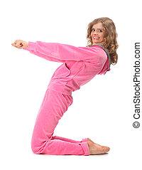 La chica de ropa rosa representa la letra z