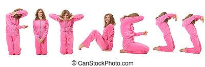 "La chica de traje rosa representa la palabra ""FITNESS"