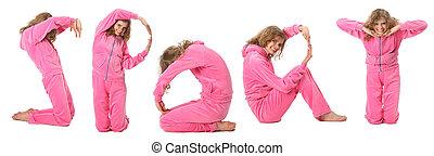 "La chica de traje rosa representa la palabra ""Sport"