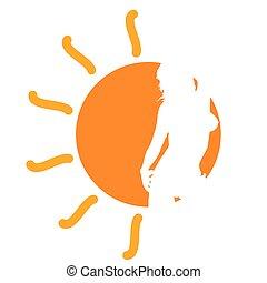 La chica del vector solar ilustrando