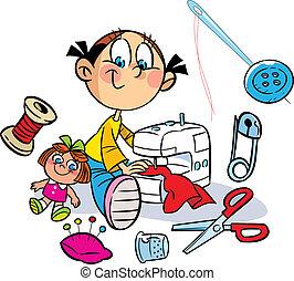 La chica está cosiendo ropa