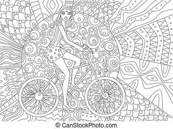 La chica feliz va en bicicleta por un libro de colorear
