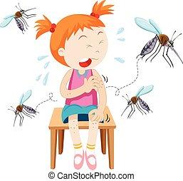 La chica fue mordida por los mosquitos